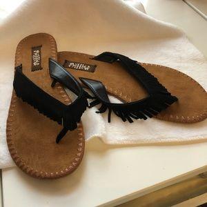 Mad Love ladies black boho fringe flip flops